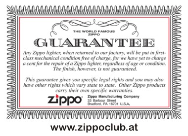 Zippo garantie